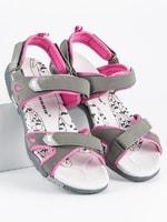 Dámské sandály na suchý zip šedé