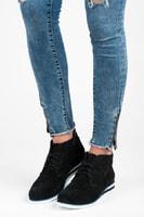 Černé kožené kotníkové boty