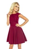 Bordó šaty s širokou sukní