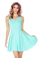 Šaty s kolovou sukní a srdíčkovým výstřihem mátové