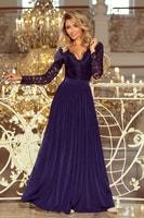 Exklusivní plesové šaty s krajkou tmavě modré