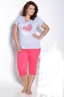 Dámské pyžamo Sylvie nadměrná velikost šedo růžové