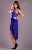 Dámské asymetrické šaty bez ramínek modré