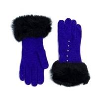 Vlněné rukavičky s kožíškem modré