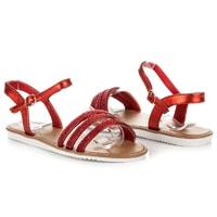 Červené sandály s kamínky