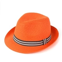 Měkký trilby klobouk na léto oranžový