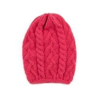 Pletená čepice s copánkovým vzorem růžová