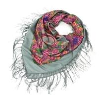 Folk, etnický šátek s třásněmi šedý