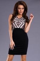 Černo-krémové úzké šaty