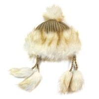 Zimní chlupatá čepice béžová