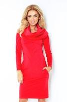 Červené dámské šaty s dlouhým rukávem