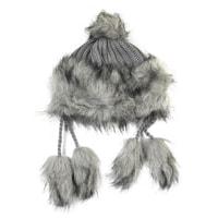 Zimní chlupatá čepice šedá