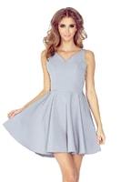 Šedé společenské šaty s kolovou sukní