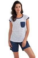 Dámské bavlněné pyžamo Vicky modré s hvězdičkami