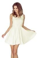 Šaty s kolovou sukní a výstřihem ve tvaru srdce ecru