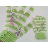 Prstové rukavice s pruhy zelené