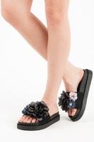 Dámské nazouváky flowers černé