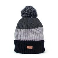 Silná trojbarevná pánská v šedých tónech čepice