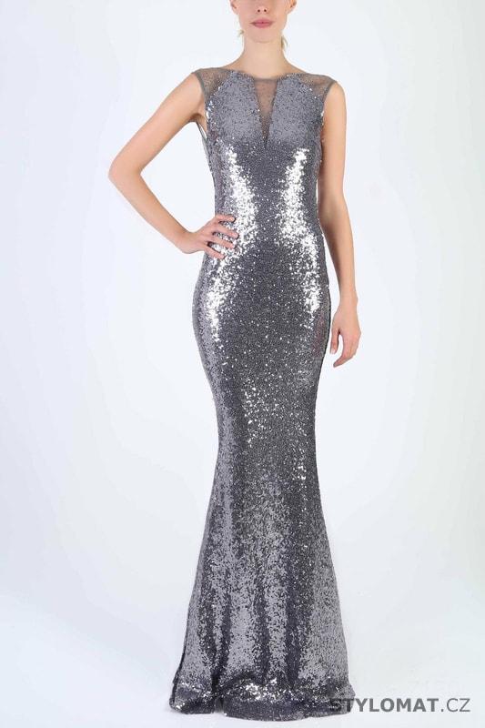 Stříbrné flitrované večerní šaty - Soky Soka - Dlouhé společenské šaty 2b7c1a4963