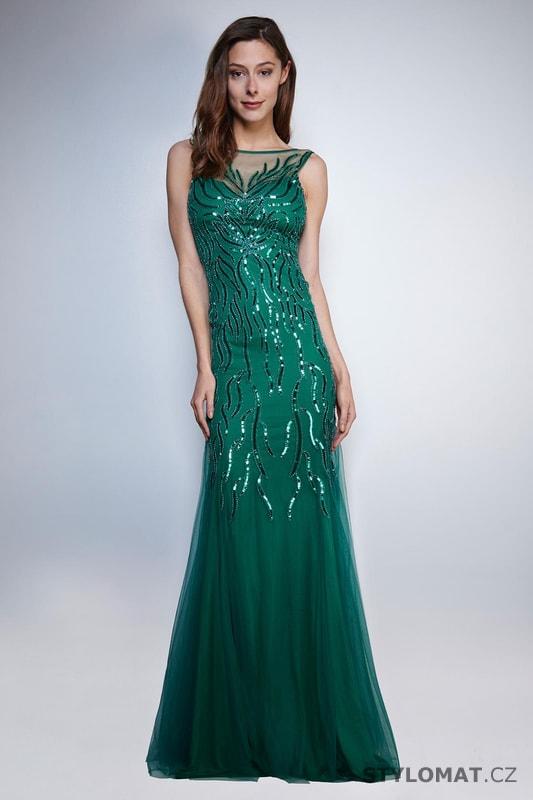 005ad0b626d Zdobené večerní šaty zelené - Soky Soka - Dlouhé společenské šaty