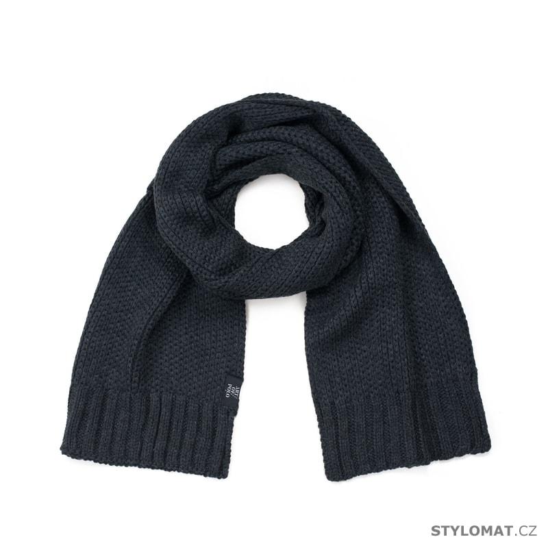 6dd53e5d81c Šedočerný pletený šál