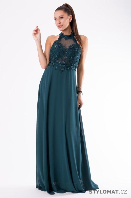 Krajkové večerní šaty ke krku zelené - Eva Lola - Dlouhé společenské ... 5ed49c2d74