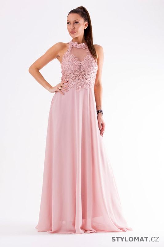 9d7f2bc0028 Krajkové večerní šaty ke krku růžové - Eva Lola - Dlouhé společenské ...