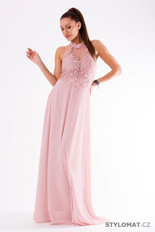 e7de90e8b44 Krajkové večerní šaty ke krku růžové - Eva Lola - Dlouhé společenské ...