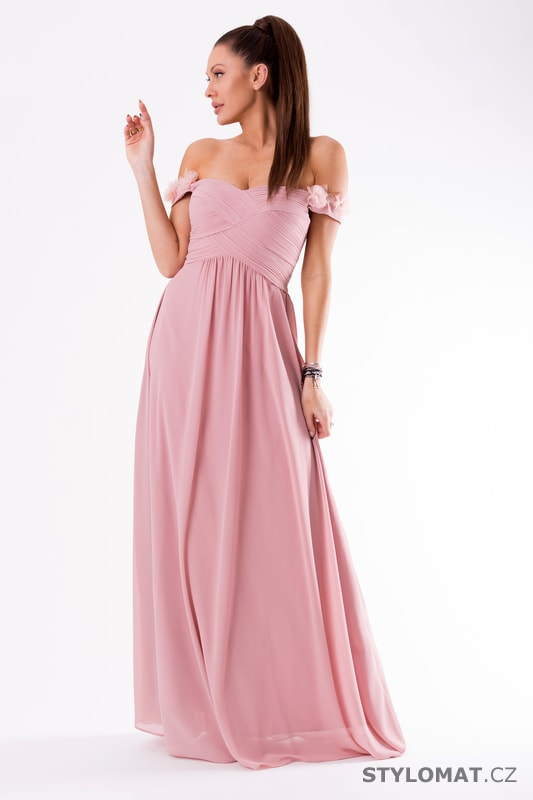 9f190cc8c95 Večerní šaty se spadlými rameny fialové - Eva Lola - Dlouhé ...