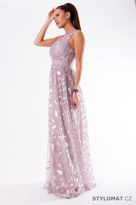 Fialové večerní šaty s peříčky 598916228a