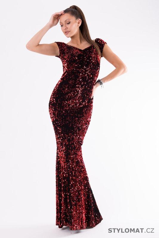 Flitrované večerní šaty červené - Eva Lola - Dlouhé společenské šaty d4a908745f