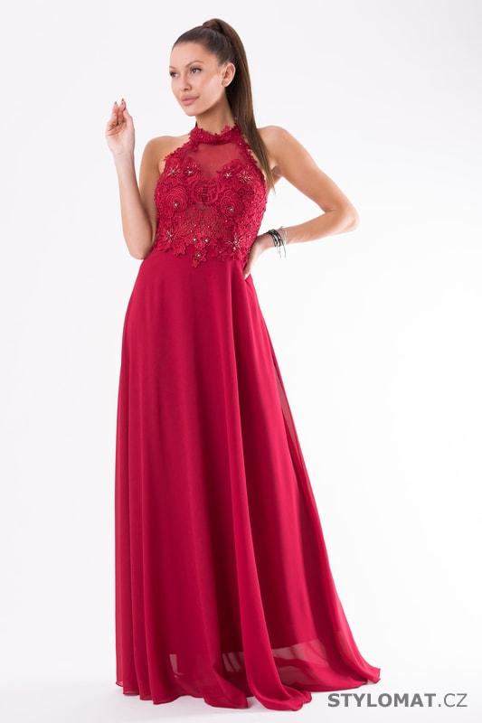 Krajkové večerní šaty ke krku červené - Eva Lola - Dlouhé ... 3f39d96f15