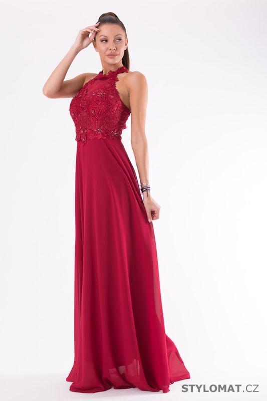 Krajkové večerní šaty ke krku červené - Eva Lola - Dlouhé ... c743160da7