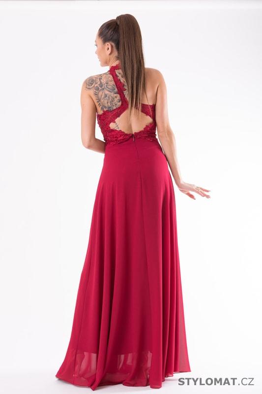 Krajkové večerní šaty ke krku červené - Eva Lola - Dlouhé ... 2be5a95b8b