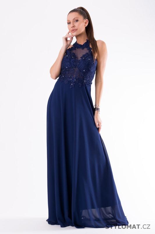 64aa3d118f2 Krajkové večerní šaty ke krku modré - Eva Lola - Dlouhé společenské šaty