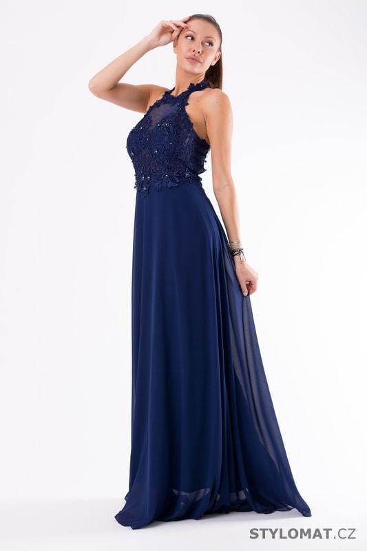 Krajkové večerní šaty ke krku modré - Eva Lola - Dlouhé společenské šaty fc4bc4fd3d