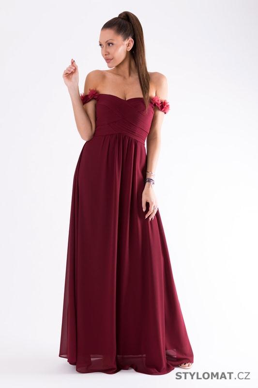 ce8c2f72a3d Večerní šaty se spadlými rameny bordó - Eva Lola - Dlouhé ...
