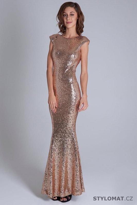 Flitrované šaty s krátkými rukávy zlaté - Soky Soka - Dlouhé ... 94caebc0cc