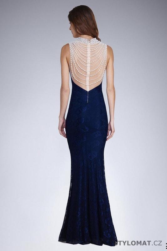 Krajkové šaty s perličkami modré - Soky Soka - Dlouhé společenské šaty d2a22c13156