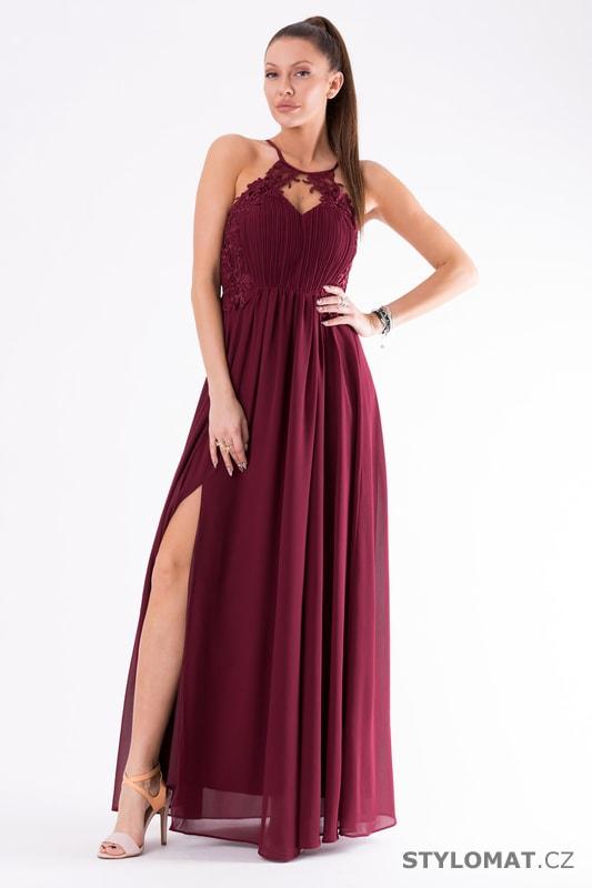 Romantické večerní šaty vínové - Eva Lola - Dlouhé společenské šaty d40f76a52c2