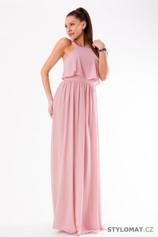 7f3305a0b9c Večerní maxi šaty s volánem růžové - Eva Lola - Dlouhé společenské šaty
