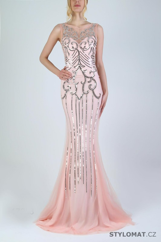 e7c944ea055 Zdobené večerní šaty růžové - Soky Soka - Dlouhé společenské šaty