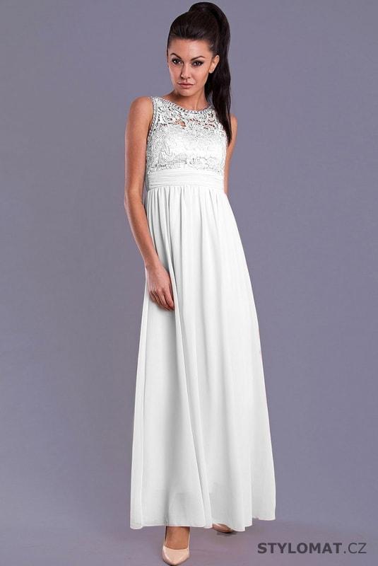 65695a5f046 Elegantní dlouhé plesové šaty bílé - Eva Lola - Dlouhé společenské šaty