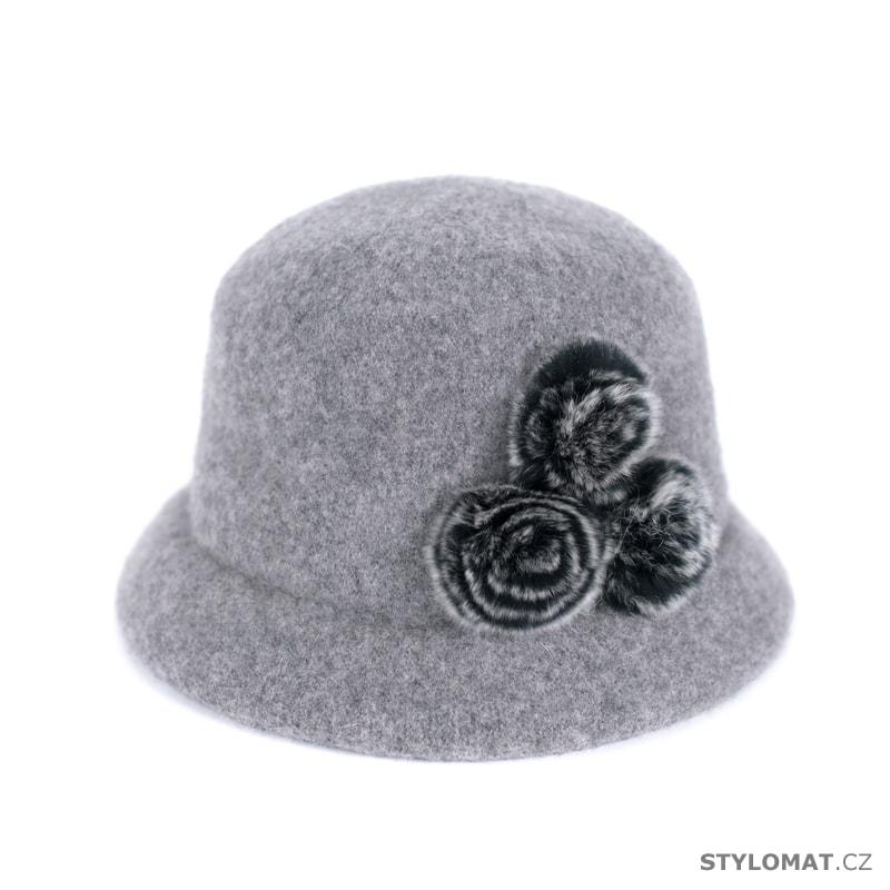Šedý klobouk s kožešinou - Art of Polo - Dámské vlněné klobouky 8a8fbc3278