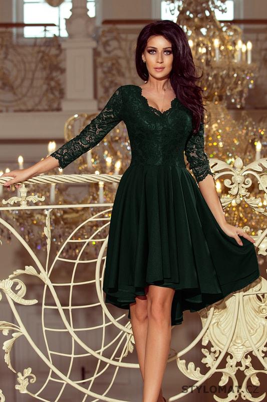 Šaty s asymetrickou sukní a krajkovým topem tmavě zelené - Numoco ... 3bc2e47015