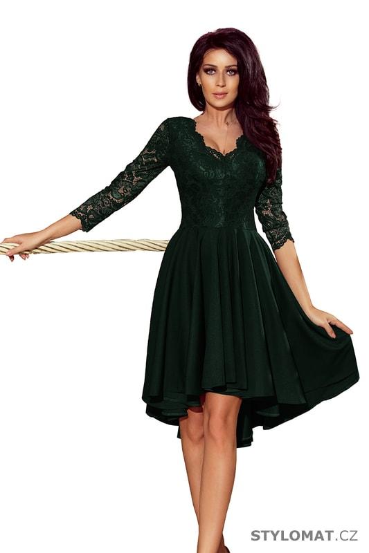 Šaty s asymetrickou sukní a krajkovým topem tmavě zelené - Numoco - Krátké společenské  šaty b977c5aedb6