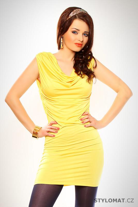 Žluté letní šaty s ozdobným křížením - Kate Fashion - Krátké letní šaty 5b5ea4b12e