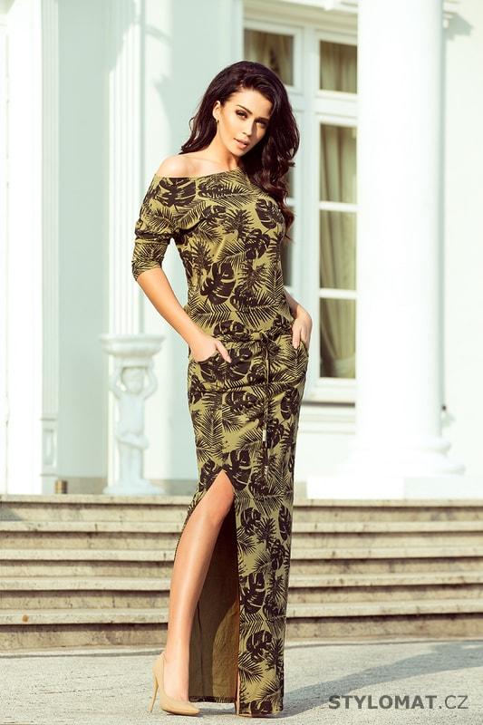 Sportovní maxi šaty s rozparkem khaki - Numoco - Dlouhé letní šaty 986f06ff0c3