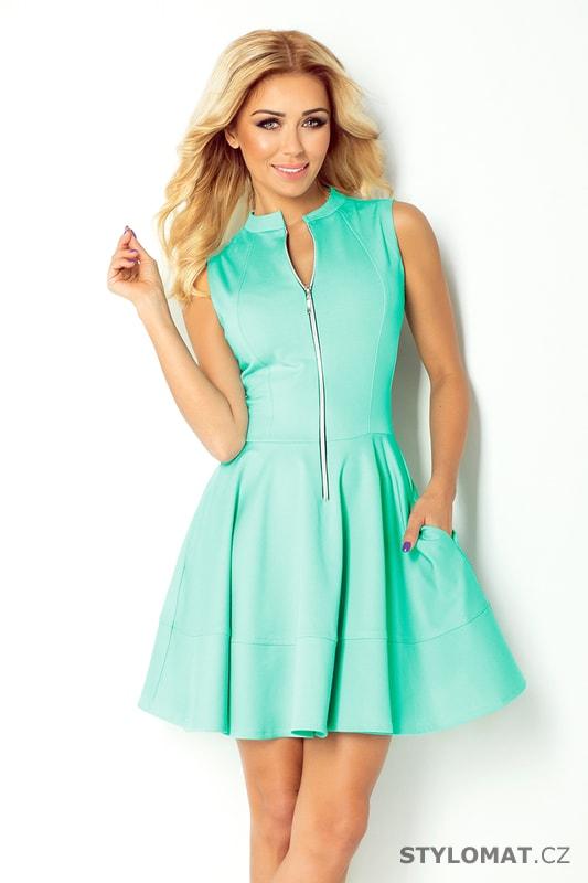 af3c3a08eba Šaty se zipem a kapsami blankytně modré - Numoco - Krátké společenské šaty