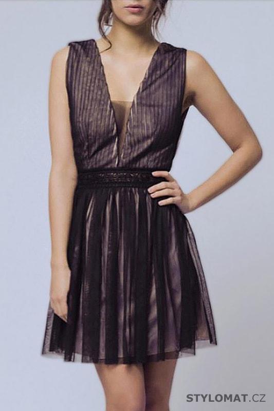 a37f22bb8d3 Antické šaty s výstřihem do V černé - Soky Soka - Krátké společenské ...